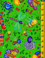 Big Bugs cotton fabric Bees Caterpillar Ladybug Butterfly Ant on Green 32 ""