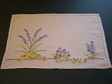 VINTAGE IRISH LINEN  TRAY CLOTH WITH HAND EMBROIDERED SPRING FLOWERS
