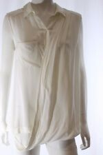 Veronika Maine White Sleeveless Crossover Drape Front Shirt Blouse Top Size 12