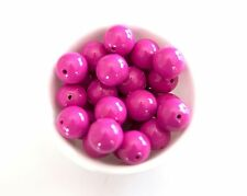 Magenta Solid 20mm Chunky Acrylic Beads 10 ct for Bubblegum Gum Necklace