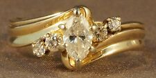 Solid 14K Gold & .54 cttw Marquis Diamond Wedding Band, Engagement Ring Set
