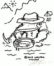 Prospector Ape Pans for Gold. Original Signed Cartoon by Walter Moore 10D12