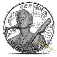 NEW ~2~OZ ~.999 SILVER ROUND ~ BUDDY HOLLY ~MUSIC ICONS~ULTRA HIGH RELIEF~$52.88