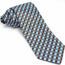 NEW ETRO 57L Blue Brown Geometric Woven Silk Mens Neck Tie