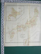 1913 JAPAN JAPANESE TOURIST MAP ~ JAPAN ~ FORMOSA YEZO SECTIONAL KEY PREFECTURES