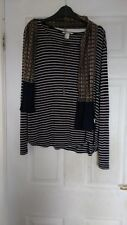 H&M Parisian French Boho Bohemian Striped Breton Style T-shirt Top Large 18 20