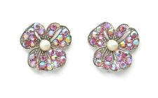BOGOFF Rose Aurora Borealis & Pearl Pansy Earrings - sparkly and delightful