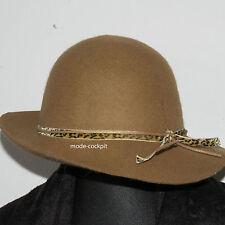 A-Zone   Designer Damen Hut Wolle camel 2 Bändchen Einheitsgröße 52-57
