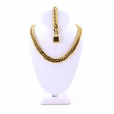 Miami Cuban Link Curb Chain 14k Gold Plated Hiphop 13MM Thick Chain & Bracelet