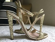 $732 MIU MIU Glitter-finished leather sandals SZ IT36 US6
