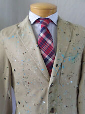 J CREW tan khaki chino working cuff paint splatter artist craft blazer jacket SM