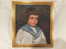 Antique Young Girl Portrait Oil Painting - Impressionist Painting of Child