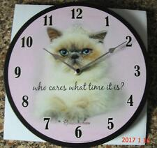 "Cat Wall Clock Blue Point Himalayan 11"" 28cm  Rachael Hale Design Wood Construct"