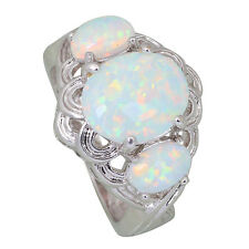 AR415 Wedding rings for women White Fire Opal Silver Party Fashion Jewelry sz 5
