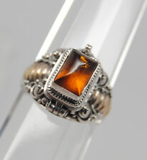 CREMATION JEWELRY AMBER CREMATION URN RING 9 1/2 GOLD SILVER URN RING MEMORIAL