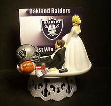 Oakland RAIDERS FOOTBALL WEDDING CAKE TOPPER SPORTS FUNNY Just win baby
