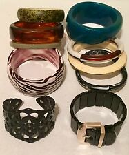 Vtg Bakelite Lucite & Celluloid Bangle Bracelet Lot Blue Moon ? Belt Buckle
