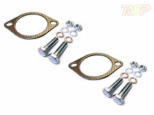 """2x Universal 3"""" Inch 76mm 2 Bolt Exhaust Downpipe Gasket & Bolts Kit"""