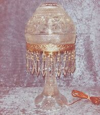 """AMAZING ANTIQUE/VINTAGE CUT CRYSTAL DOMED MUSHROOM LAMP 20"""" TALL WORKS GREAT!"""