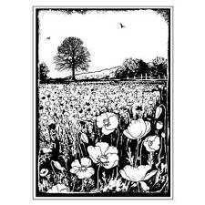 Crafty Individuals SUMMER POPPY MEADOW Unmounted Red Rubber Stamp