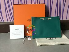Auth Hermes Petit h Teal Flat Pouch Passport Holder Card Case Valentine's Day LE