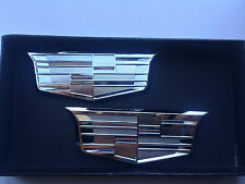 2XNEW Cadillac CTS SRX STS ATS XLR SLS CT6 Chrome Trunk Fender Emblem Badges