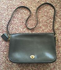 COACH Classic Vintage 80s 90s Black Leather Small Rectangular Shoulder Bag USA65