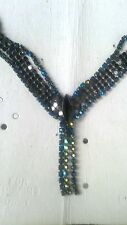 NWT Vintage Givenchy Blue & Green Iridescent Crystal Drop Bijoux Necklace Signd