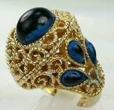 VINTAGE Rare Trifari Blue Cabochon Eye Gold Tone Queen ring . ONLY one  on ebay