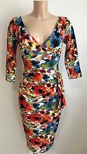 BEAUTIFUL RED FLORAL TEXTURED PLUNGE NECK BODYCON WIGGLE PENCIL DRESS SIZE 16