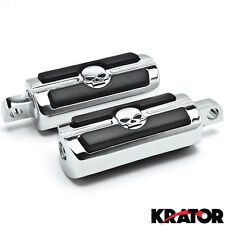 Rider Passenger Chrome Cruiser Skull Head Foot Rests Pegs For Harley Davidson