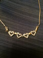 Jewels By Parklane 2 In 1 Gold Heart Necklace With Crystals NWOT Retail $65++