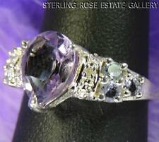 PEAR SHAPED AMETHYST LIGHT BLUE IOLITE STERLING SILVER 0.925 ESTATE RING size 7