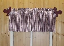 """Country Burgundy Gingham Check Valance Curtain  82"""" Wide 16"""" Long Lined"""