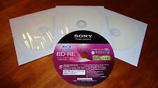 3 Sony BD-RE 25GB 2x Blu-ray Rewritable Printable Blank Discs w/Sleeves Repacked