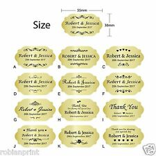 100 x Personalised Wedding Bomboniere Envelope Gold Foil Paper Sticker Seals