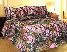 Full Size Microfiber Bed Sheet Set Pink Forest Camo Bedding Comfortable Girls