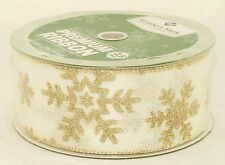 Champagne Sparkle Snowflake On Ivory Burlap Wide Wired Ribbon 50 Yards NEW bow