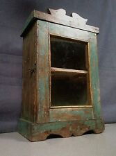 Antico / Vintage Indiano in legno display / Armadietto da bagno. ART deco. Faded Teal