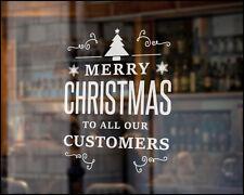 MERRY CHRISTMAS CUSTOMERS WINDOW ART STICKER XMAS VINYL SHOP SIGN RETAIL  8