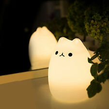 Romantic Silicone CAT Sensitive USB LED 7 Color Changing Night Light Table Lamps