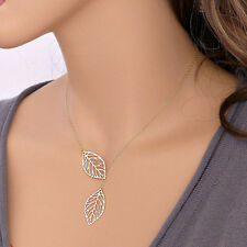 Double Hallow Gold Silver Leaves pendant Clavicle Necklace Wedding Jewelry Gift