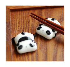 USA Porcelain Spoon Fork Knife Holder Ceramic Ware Panda Chopstick Rest Stand