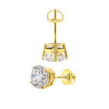 3.0 CT BRILLIANT ROUND CUT BASKET SCREWBACK EARRINGS SOLID 14K YELLOW GOLD