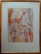 MARIGOLD EVANS SOUTHERN AFRICAN TRIBAL ROCK ART ORIGINAL WATERCOLOUR PAINTING