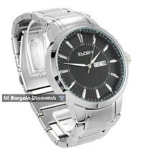 mens big Elgin steel tone business dress watch day date bracelet