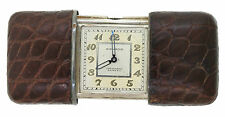 RARE Vintage Movado Ermeto Pullman Pocket Purse Silver Leather Swiss Watch
