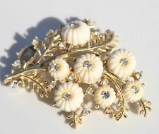 HARVEST REPAIR AS IS: CORO PEGASUS signed gold tone white lucite cabs BROOCH