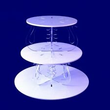 Three Tier Swan Design Round Cake Stand - White