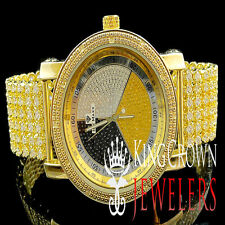 Yellow Gold Finish 3 Tone Men Joe Rodeo Jojo Jojino Genuine Diamond Custom Watch